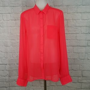 American Eagle Large Blouse Neon Pink